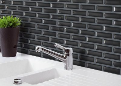 Shiny and Transparent 3D Black Brick M Osaic Wall Sticker Kitchen Bathroom Foil Beauty 3D